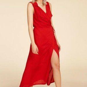 Cleobella Josie Wrap Dress Red Rayon Midi S